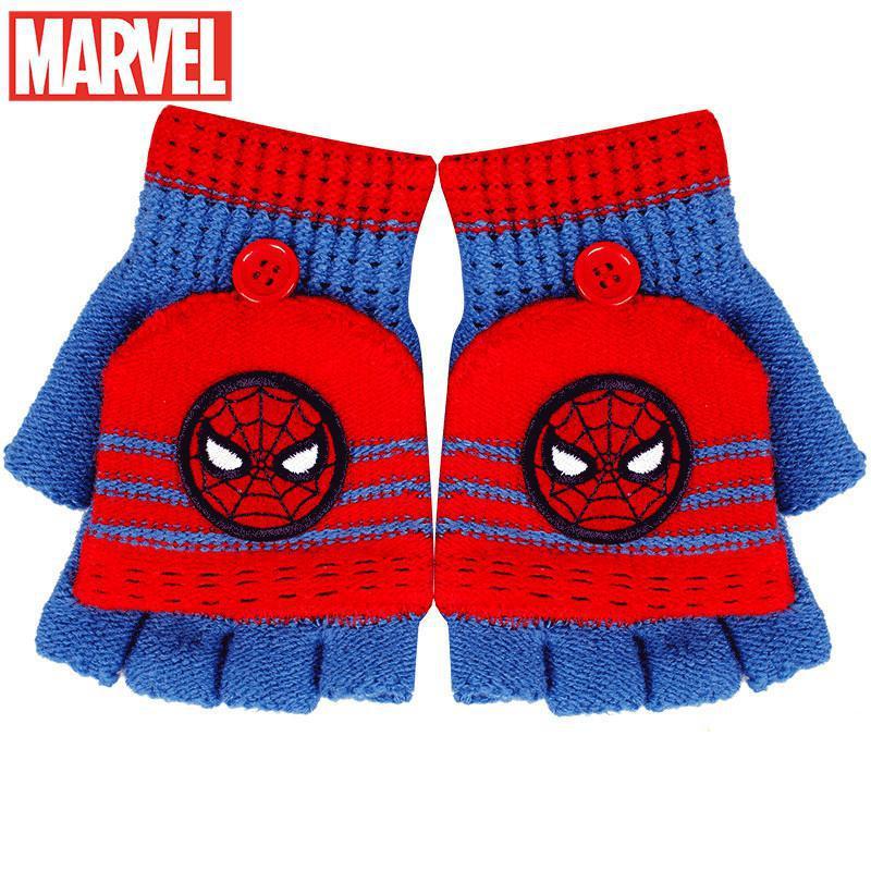Original Disney Children's Gloves Winter Warm Thicken Boy Spiderman Fingerless Five-finger Flip boy Plush Gloves