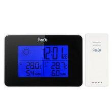 Fanju FJ3364 Digitale Wekker Weerstation Draadloze Sensor Hygrometer Thermometer Horloge Lcd Tijd Desktop Tafel Klokken