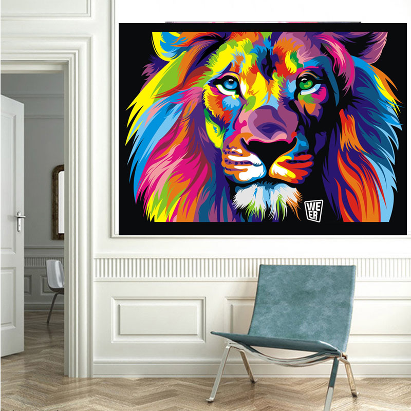 Lion Face Abstract Canvas Colourful Animals Portrait Wall Art Picture Home Decor