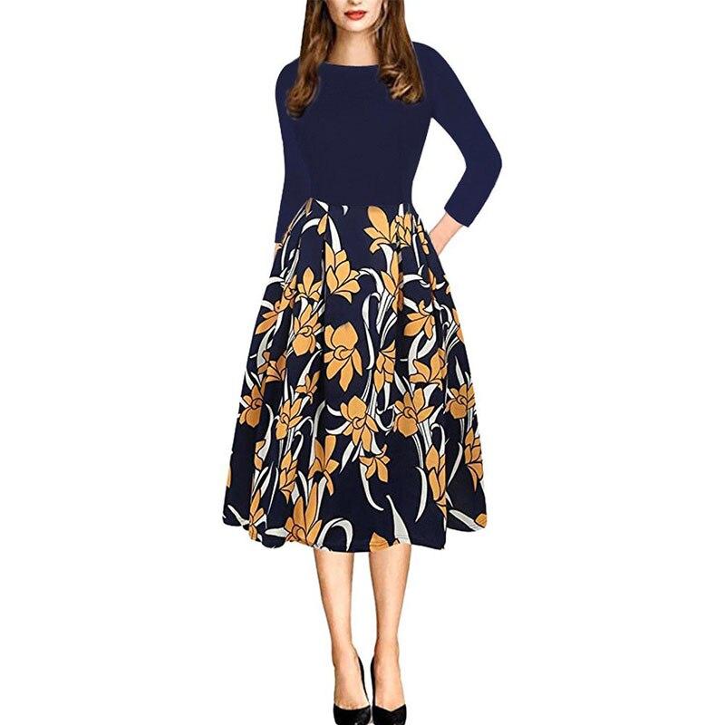2019 женское весеннее платье с цветочным принтом, повседневное простое летнее длинное платье с 34 рукавами для женщин, модные свободные вечерние платья - 4