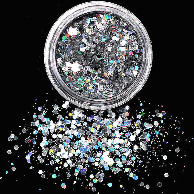 1 Pcs Shine Nail Glitter Poeder Pailletten Kleur Nail Vlokken Sticker Diy Nail Sliders Stof Voor Nail Art Decoraties