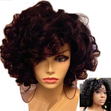 LUFFYHAIR Short Bouncy Curly Lace Front Wig with Bangs 180% Density Brazilian Re