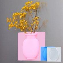 Silicone Vase Dried Flower Wall Vase Mini Paste Seamless Paste Wall Hanging Vase Refrigerator Wall Vase Sticker цена 2017