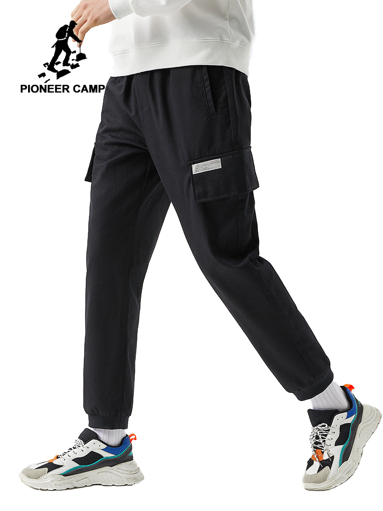 Pioneer Camp 2020 New Spring Causal Pants Trousers Mens Black Solid Color Multi-pocket Cargo Pants For Male AXX0108026