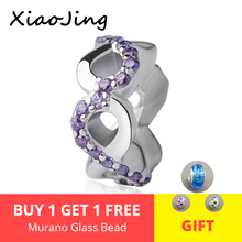 100% 925 Sterling Silver flower charms diy Beads with purple CZ Fit original pandora Bracelets Pendant Jewelry making for Gifts hot sale 925 sterling silver charms dog footprint beads with cz stone fit pandora bracelets pendant diy jewelry making gifts