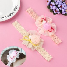 Baby Girl Elastic Lace Flower Hairband Delicate Cute Bow Chiffon Infant Headband Children Hair Accessories opaska do wlosow(China)