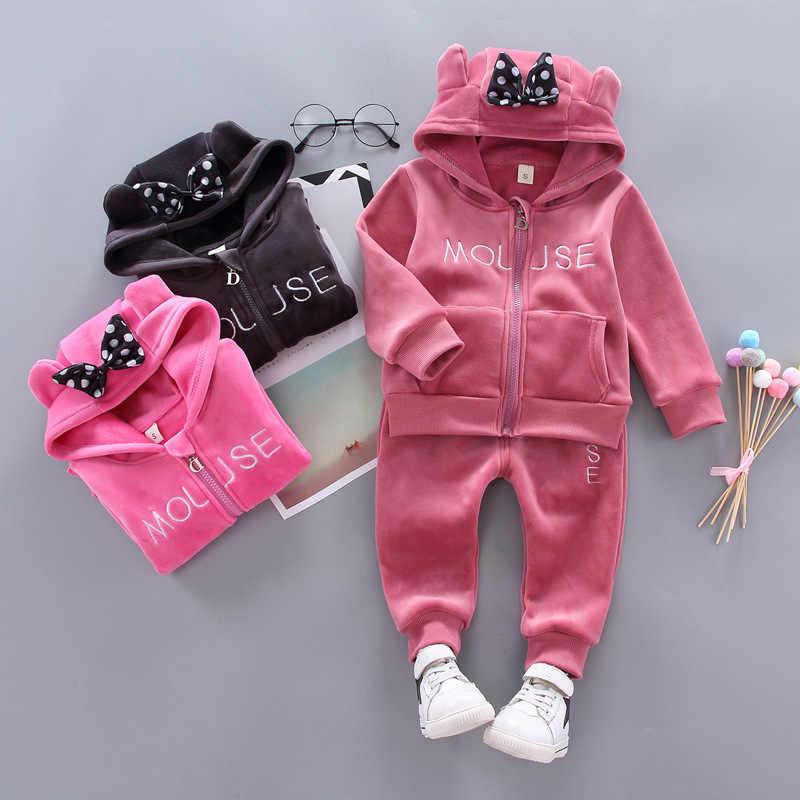 Одежда для маленьких мальчиков костюм с Микки Маусом толстовки с Микки-Маусом для девочек комплекты одежды зимняя теплая удобная спортивная одежда комплекты одежды для маленьких мальчиков и девочек
