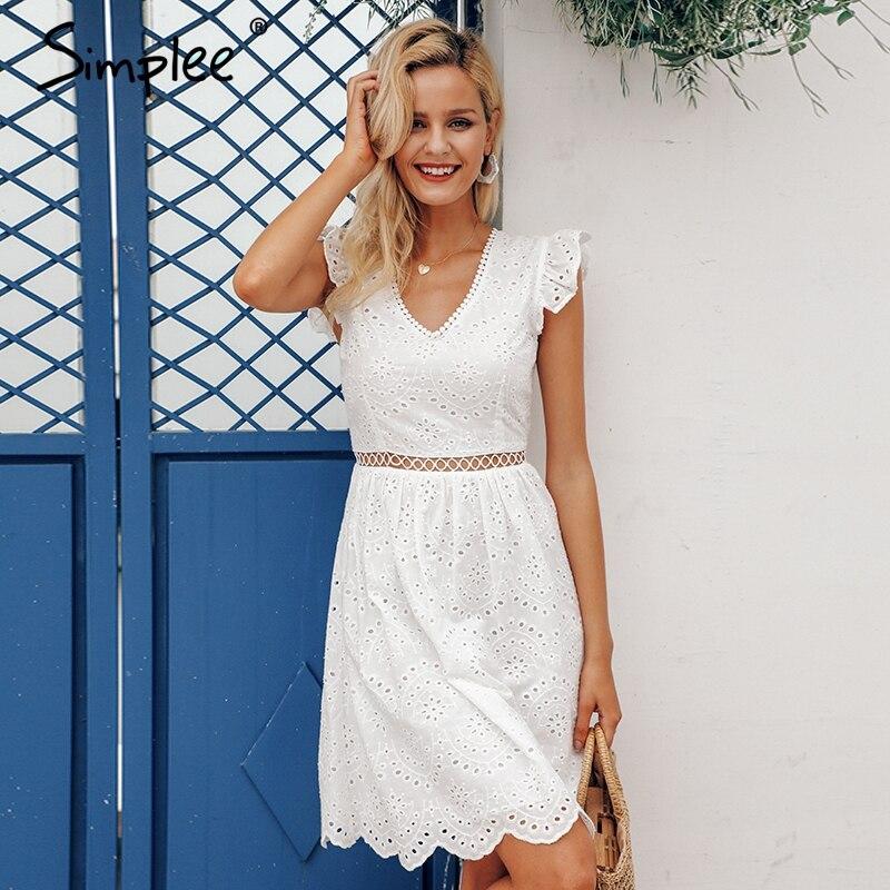Белое женское хлопковое платье Simplee, летнее кружевное винтажное привлекательное короткое платье с открытой спиной, с рюшами и v образным вырезом для отдыха и пляжа, 2019