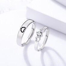 Luxury S925 Sterling Silver Ring Trend Jewelry Love Zircon Heart Shaped Men and Women Couple Couple Ring Female Engagement s925 sterling silver classical minimalist ring jewelry men women fashion couple ring