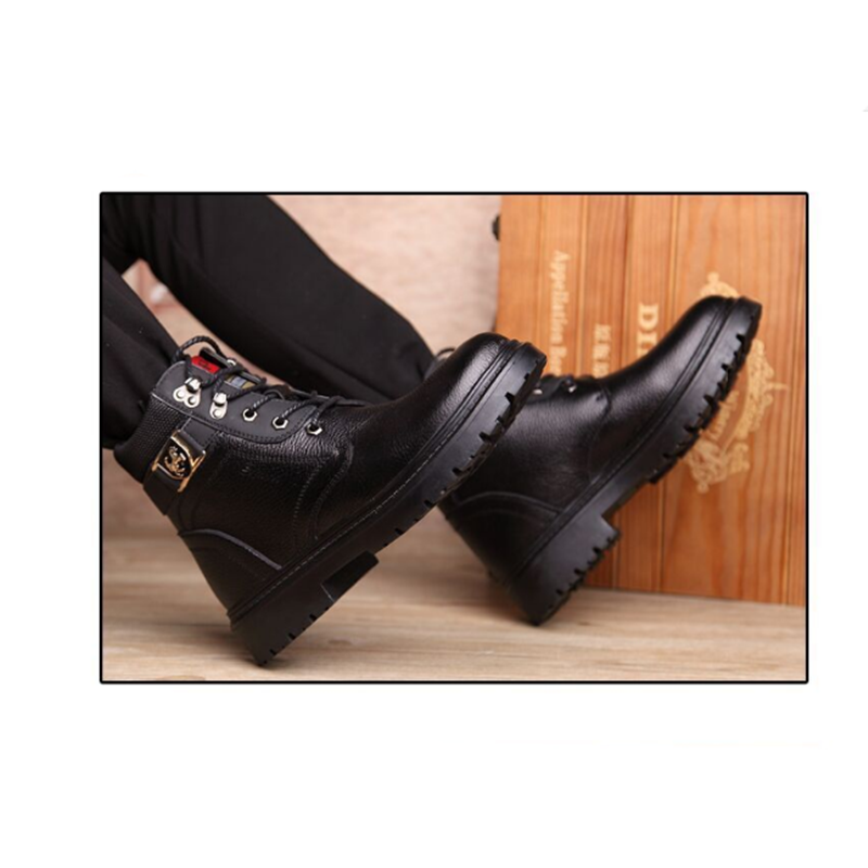 Hommes chaussures d'hiver chaud confortable mode en cuir véritable bottes de neige bottes imperméables hommes laine peluche bottes chaudes - 6