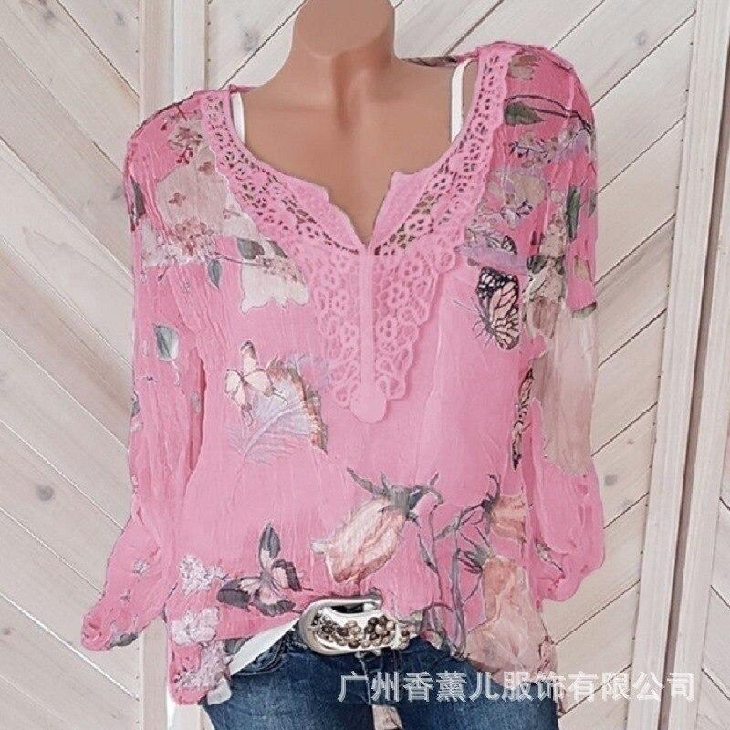 Large size lace loose women blouses 2020 summer blouse top casual fashion v-neck long sleeve printed women's chiffon shirt Men Men's Clothings Men's Tee Men's Tops cb5feb1b7314637725a2e7: Ivory|Army green|black|Pink|Sky Blue