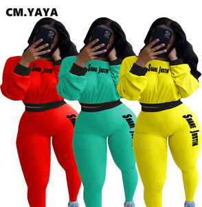 CM.YAYA Letter Print Patchwork Knitted Women's Set Slash Neck Tops Pants Set Ribbed Tracksuit Two Piece Outfit Active Sweatsuit
