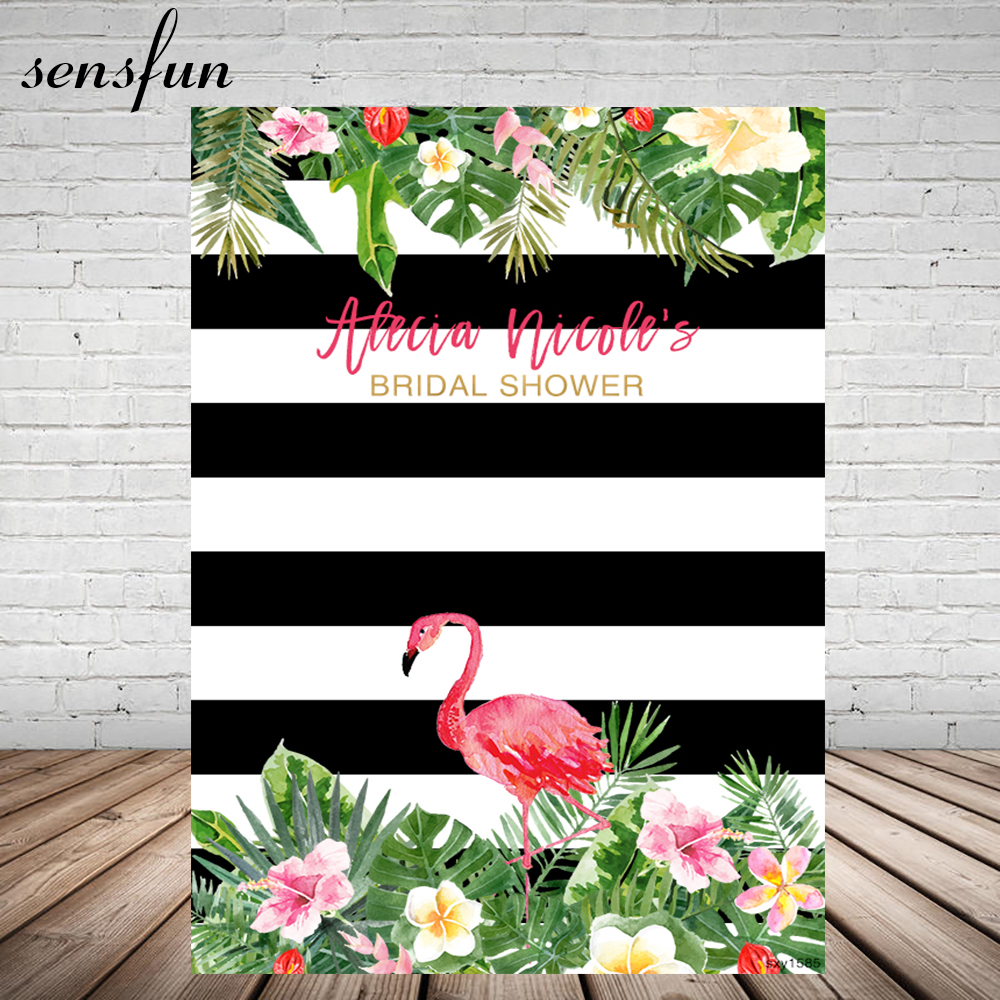 Sensfun Bridal Shower Photography Backdrop Flowers Tropical Leaves Pink Flamingo Wedding Backgrounds For Photo Studio Vinyl