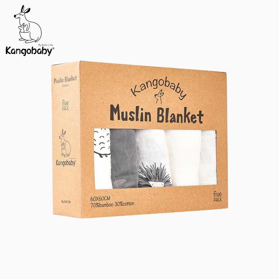 Kangobaby #My Soft Life# 5pieces Set Bamboo Cotton Swaddle Blanket Baby Bandana Bib Set