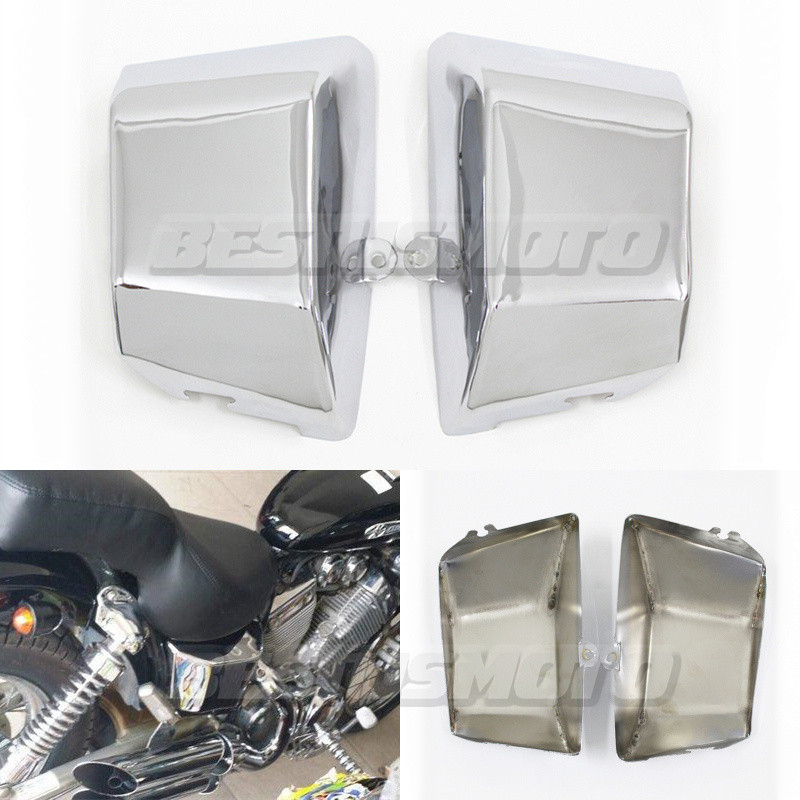 Protector de marco de cubierta de carenado lateral de batería de Metal cromado de motocicleta para Yamaha Virago XV 400 535 XV400 XV535|Cubiertas y molduras ornamentales|   - AliExpress