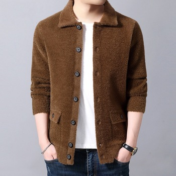 Winter Mens Warm Sweatercoat Single Breasted Knitted Male Sweaters Top Black Gray Brown Casual Outwear U9