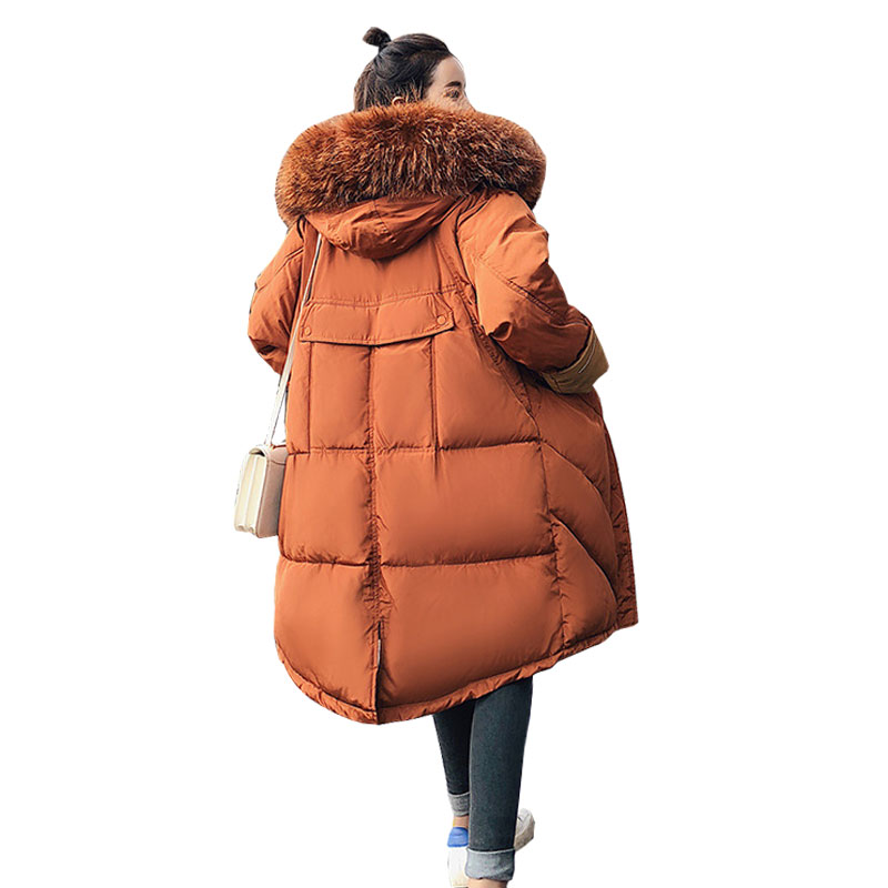 Fur Collar Hooded Student Winter Down Coat Jacket Long Thick Warm Women Casaco Feminino Abrigos Mujer