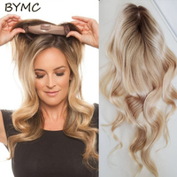 Ombre Blonde Human Hair Body Wave Topper Wig For Women 8*15cm Breathable MONO PU Base With Clip In Hair Toupee Remy Hair piece