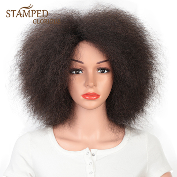 houyan sbaseball hat straight hair heat resistant fiber wig synthetic short heat resistant fiber cut short wig Stamped Glorious Black Yaki Straight Short Wig Synthetic Afro Wig for Black Women Heat Resistant Fiber Cosplay Wig