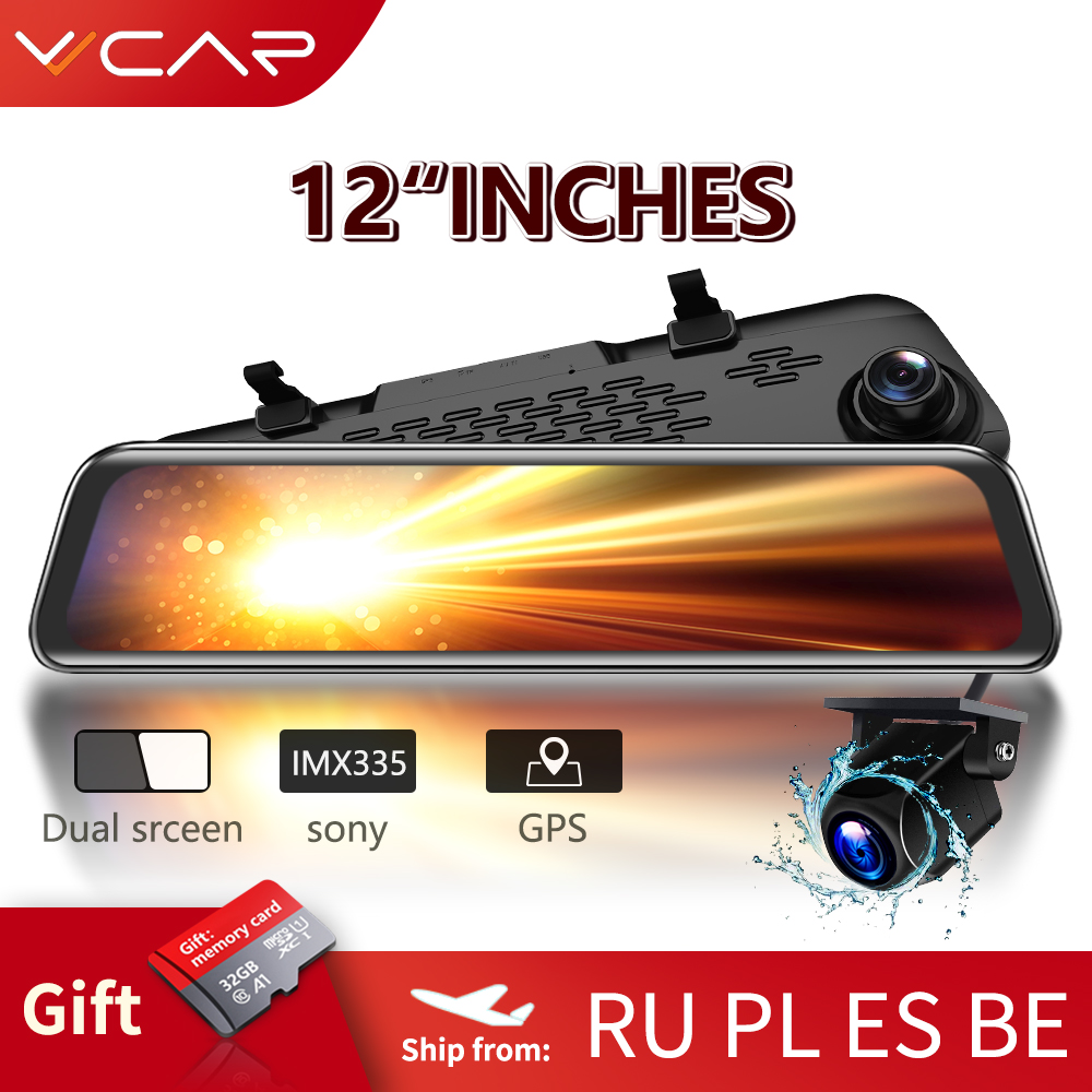 VVCAR-V17 12-inch RearView Mirror Car Dvr Camera Dashcam GPS FHD Dual 1080P Lens Driving Video Recorder Dash Cam Gift-32G Card 1