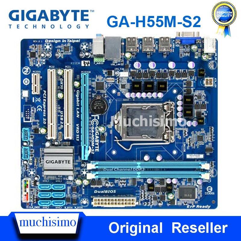 GIGABYTE GA-H55M-S2 carte mère de bureau H55 Socket LGA 1156 i3 i5 i7 DDR3 8G micro-atx Original reconditionné carte mère H55M-S2