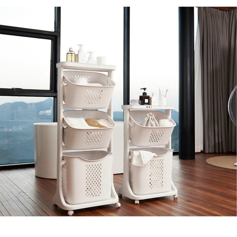 New Stylish Dirty Cloth Basket Bathroom Laundry Storage Basket Universal Wheel Plastic Household Organization Nordic Cart Bucket