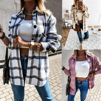 Women Long Sleeve Plaid Jacket Autumn Winter Oversized Coat 2020 Fashion Loose Outwear Vintage Elegant Top Streetwear ropa mujer 1