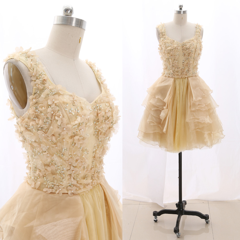 MACloth Light Yellow Short O Neck Knee-Length Short Crystal Lace   Prom     Dresses     Dress   S 267465 Clearance