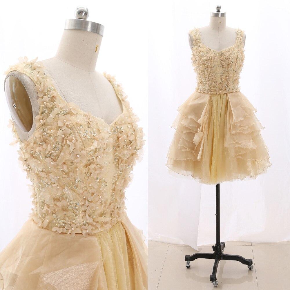 MACloth jaune clair court O cou genou longueur courte cristal dentelle robes de bal robe S 267465 liquidation