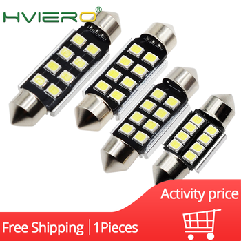 1Pcs 2835 8SMD Dome Festoon Lights Canbus Led 36mm 39mm 42mm White Auto Led Reading Lights License Plate Door Backup Lamp Bulbs image