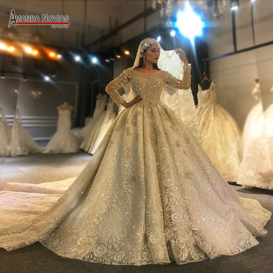 Image 5 - Платье для свадьбы Amanda Novias, роскошный дизайн, с длинным рукавом, 2020Свадебные платья    АлиЭкспресс