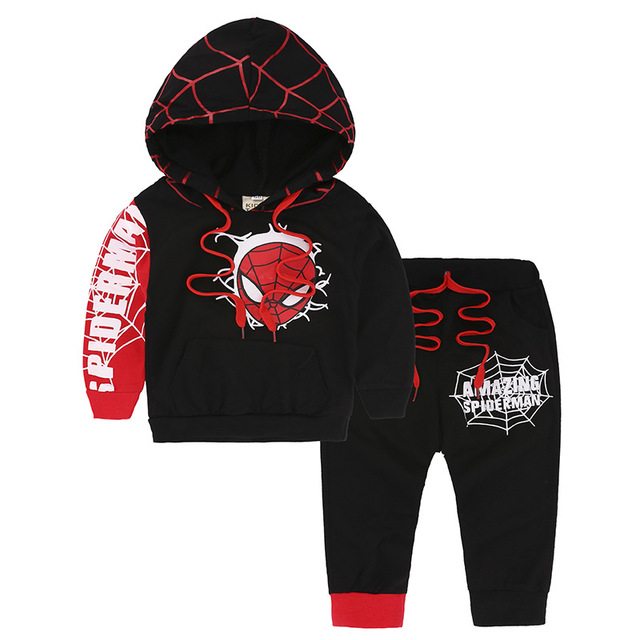 Hooded sweatshirt boys coat pant Sets toddler clothing girls spring spider man cosplay costume children hoodies kids