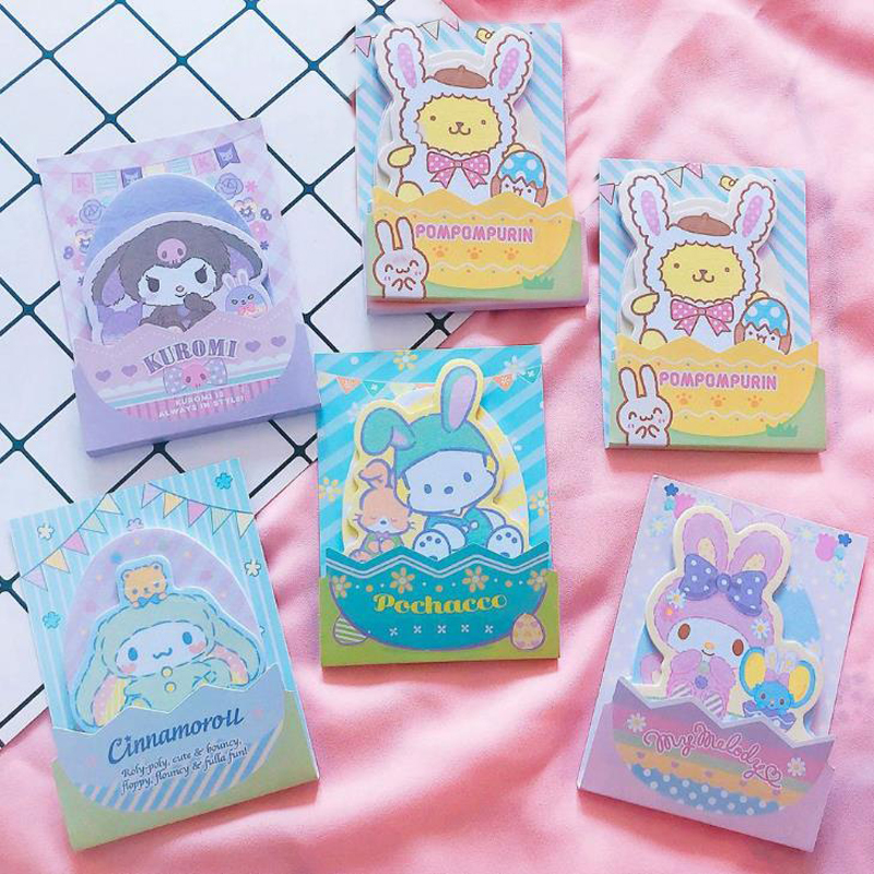 1 Pcs Cartoon My Melody Kuromi Pudding Cinnamoroll Dog Paper Memo Pads Self-Adhesive Sticky Notes School Office Gifts Stationery