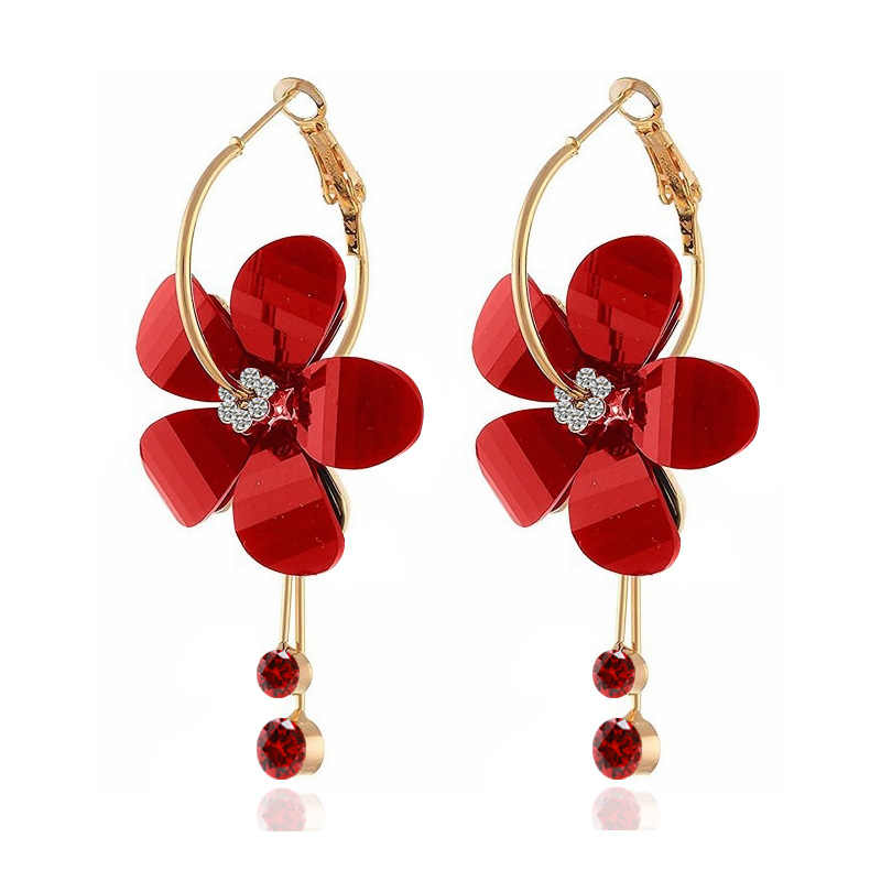 Korean Statement Acrylic Earrings Crystal Transparent Flowers Tassel Earrings For Women 2019 Fashion Jewelry Oorbellen Brincos