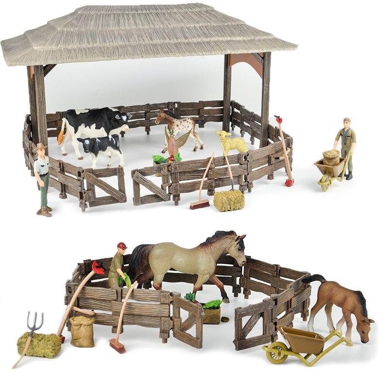 Image 2 - 野生動物園大ファームハウスシリーズ 2 動物フィギュア農民ブリーダーコラルフェンスフィード馬安定したおもちゃ子供のギフトアクション & トイ フィギュア   -