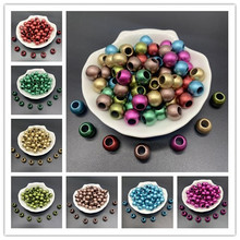30pcs/lot 12x10mm Matte Acrylic Spacer Beads Big Large Hole Beads For DIY Jewelry Making