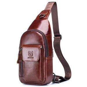 Image 5 - BULLCAPTAIN Bolsos cruzados de piel auténtica para hombre, Bolsa Bandolera de pecho, mochila con una sola Correa, 2020