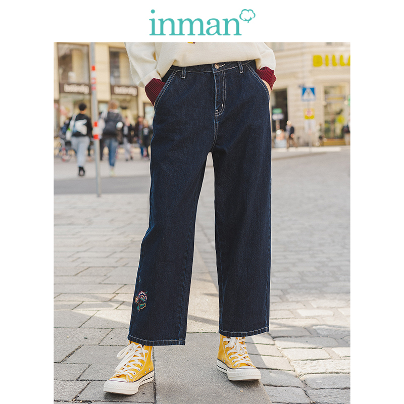 INMAN Spring Autumn 100%Cotton Medium High Waist Literary Embroidery Minimalism All Matched Fashion Women Jeans
