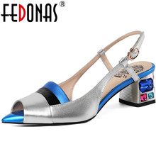 FEDONAS Mixed Colors Open-Toed Sandals For Woman Genuine Leather Thick Heels Pum