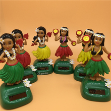 Toys Solar-Powered Hula-Girl Car Dancing Home-Decoration Swing Small Skirt Beauty-Grass