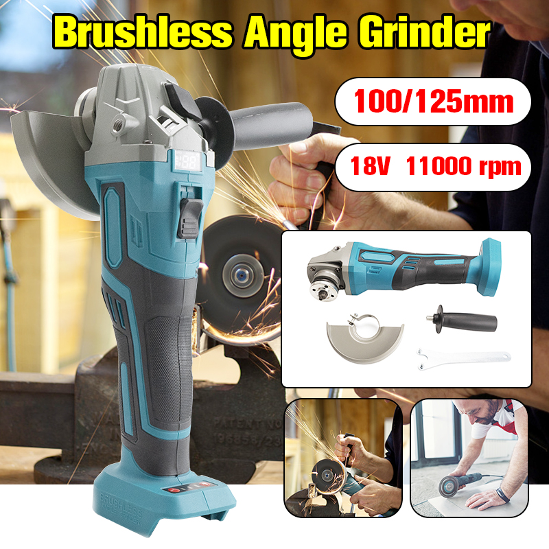 For Makita 18V 125mm Brushless Cordless Impact Angle Grinder DIY Power Tools Electric Polishing Grinding Machine Without Battery