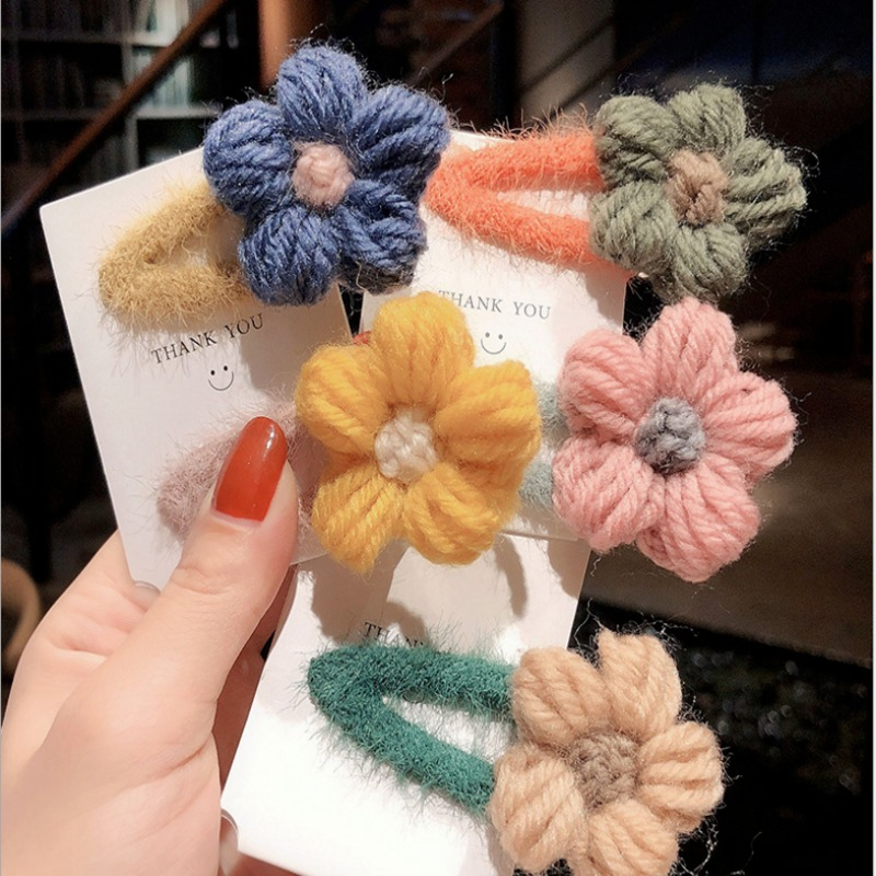 New Arrivals Hairpin Female South Korea Autumn New Plush Flowers BB Clip Hairpin Bangs Clip Head Rope Girl Side Clip