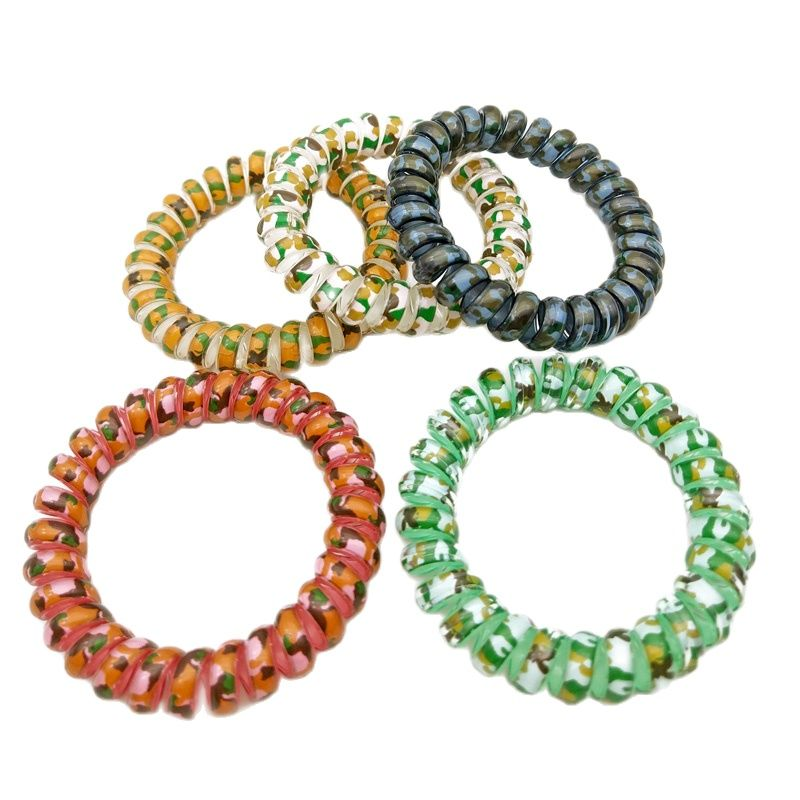 Lots 100 Pcs Leopard Pattern Elastic Spiral Ponytail Hair Ties Gum Rubber Band Rope Telephone Wire Accessories
