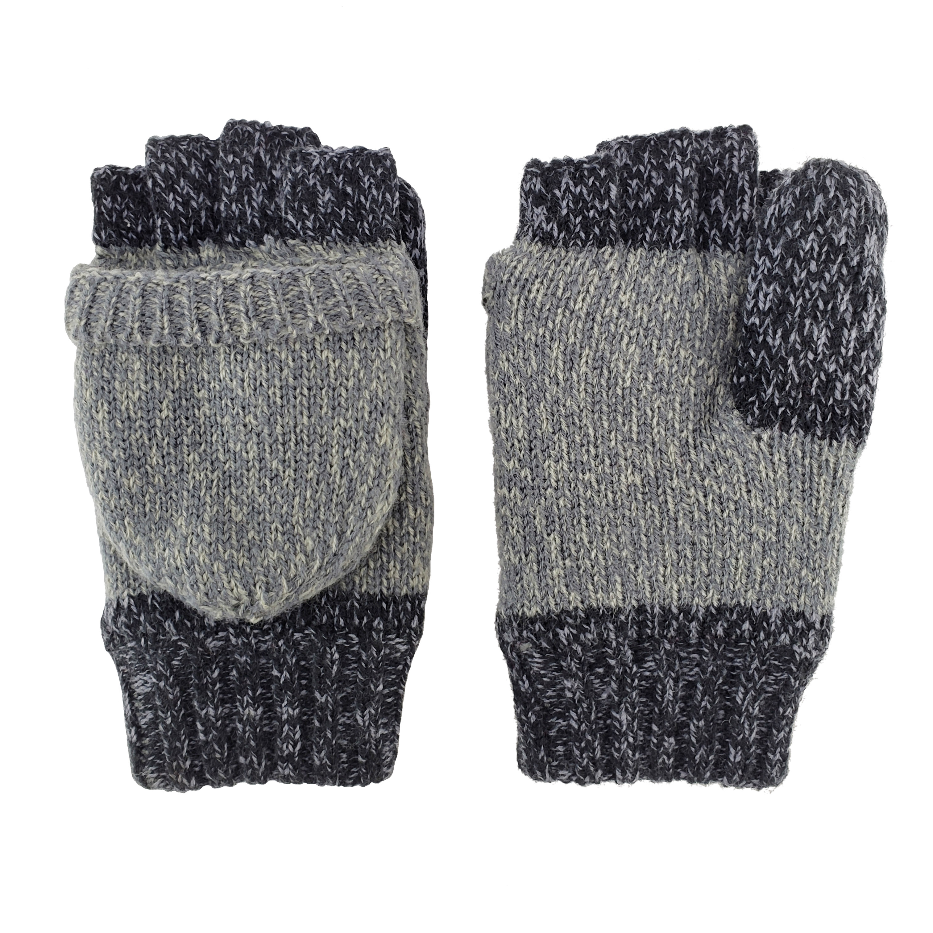 Bruceriver Ladies' Knit Convertible Fingerless Driving Gloves With Mitten Cover