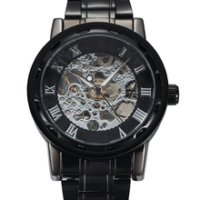 Men Skeleton Roman Numerals Hollow Dial Stainless Steel Band Mechanical Watch все цены
