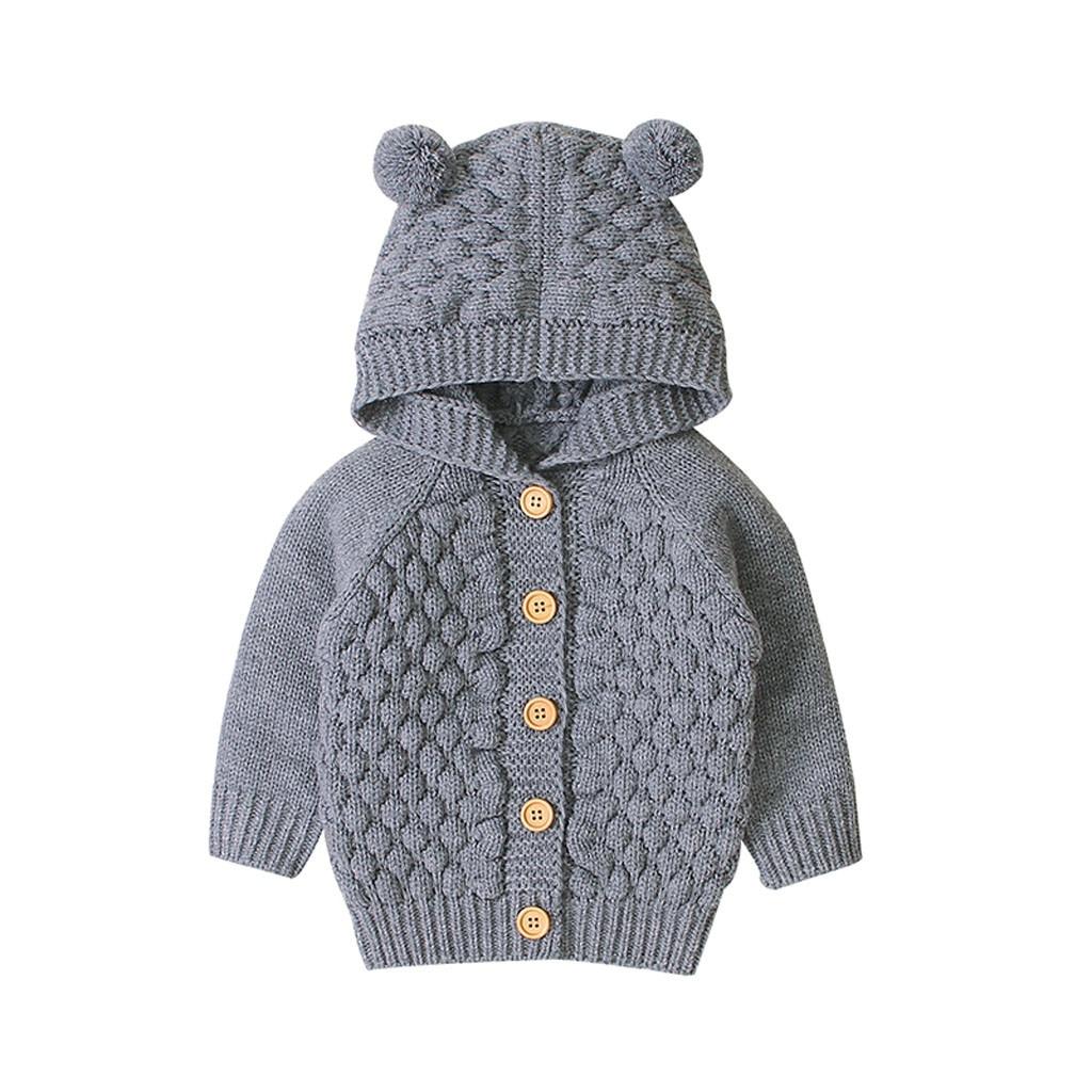 Newborn Toddler Kids Baby Boys Girl Knitted Sweater Cardigan Coat Jacket Outwear