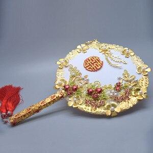 Image 3 - Kyunovia złoty bukiet luksusowy dla nowożeńców bukiet ślubny kości słoniowej wielki Gatsby broszka ślubna wentylator bukiet D150