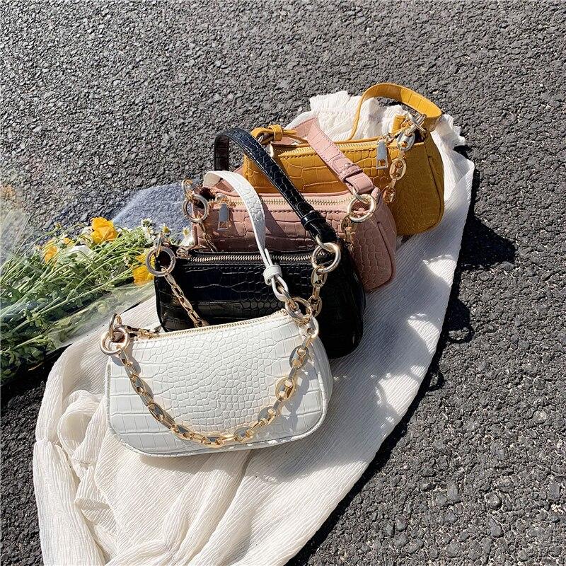 couro de luxo da forma do jacaré do vintage baguette