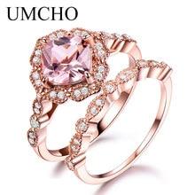 UMCHO 925 סטרלינג כסף טבעת סט נשי Morganite אירוסין נישואים כלה בציר לערום טבעות לתכשיטי נשים
