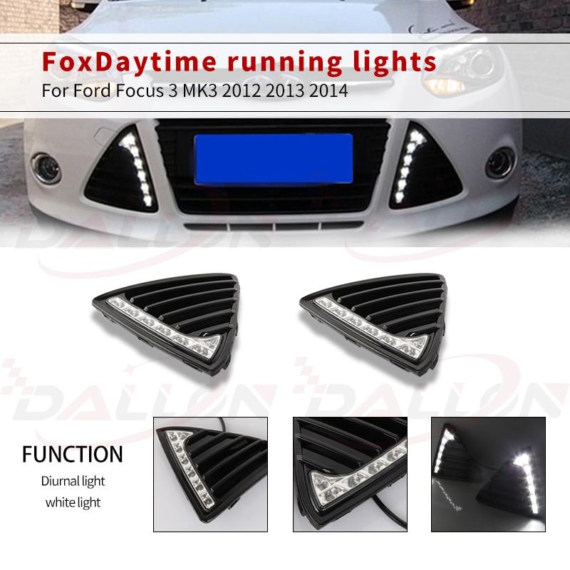 1 комплект для Ford Focus 3 MK3 2012 2013 2014 DRL Габаритные огни 12В светодиодный дневной свет Противотуманные лампы из водонепроницаемого материала с за...